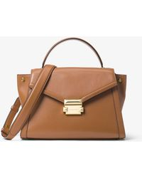 9c29f8c5cabf Michael Kors Whitney Large Leather Satchel in Black - Lyst