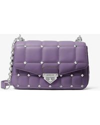 Michael Kors Soho Large Studded Quilted Leather Shoulder Bag - Purple