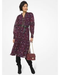 Michael Kors Paisley Georgette And Lace Ruffled Dress - Purple
