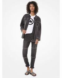 Michael Kors Studded Denim Cargo Jeans - Gray