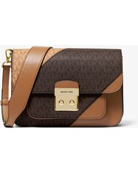 5eb759e437b Michael Kors - Sloan Editor Two-tone Logo And Leather Shoulder Bag - Lyst