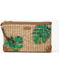 Michael Kors - Malibu Extra-large Palm Embroidered Straw Clutch - Lyst