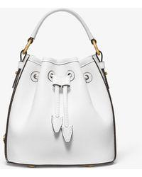 Michael Kors Monogramme Small Leather Bucket Bag - White