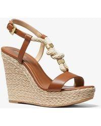 Michael Kors Holly Leather Wedge Sandal - Brown