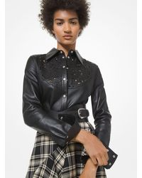 Michael Kors Embroidered Plongé Leather Shirt - Black