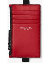 Michael Kors - Porta Carte Di Credito In Pelle Con Cordino E Zip - Lyst