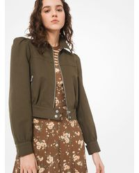 Michael Kors Washed Cotton-twill Cropped Jacket - Multicolour