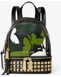 c6e1a2ba7b74 MICHAEL Michael Kors - Rhea Mini Butterfly Camo Leather Backpack - Lyst