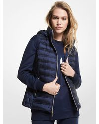 Michael Kors Quilted Nylon Packable Puffer Vest - Blue