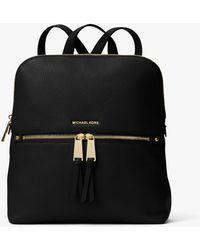 Michael Kors Rhea Medium Slim Leather Backpack - Black