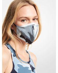 Michael Kors Camouflage Stretch Cotton Face Mask - Blue