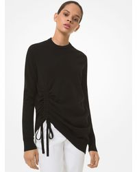 Michael Kors Cashmere Ruched Sweater - Black