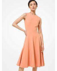 Michael Kors Double Face Stretch Wool Crepe Sheath Dress - Orange