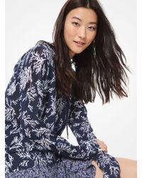 Michael Kors Painterly Reef-print Cotton And Nylon Hoodie - Blue