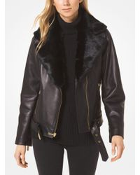 Michael Kors - Leather And Faux Fur Moto Jacket - Lyst