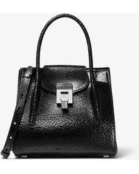 Michael Kors Bancroft Medium Crackled Calf Leather Satchel - Black