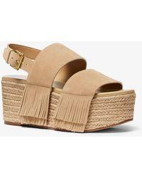 Michael Kors Mk Hana Suede Flatform Sandal - Natural