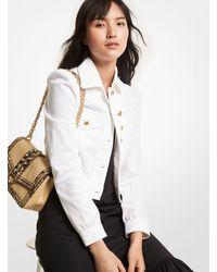 Michael Kors Denim Puff-sleeve Cropped Jacket - White