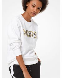 Michael Kors - Floral Embroidered Terry Sweatshirt - Lyst