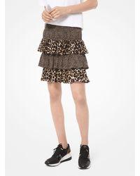 Michael Kors Mixed Leopard Matte Jersey Ruffled Skirt - Brown