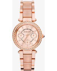 Michael Kors - Mini Parker Rose Gold-tone And Blush Acetate Watch - Lyst