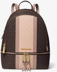 Michael Kors Rhea Medium Striped Logo And Leather Backpack - Brown