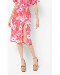 Michael Kors - Floral Crepe De Chine Wrap Skirt - Lyst
