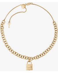 Michael Kors - Gold-tone Chain-link Padlock Pendant Necklace - Lyst