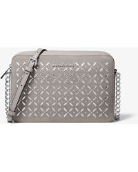 Michael Kors - Jet Set Large Embellished Leather Crossbody - Lyst