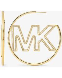 Michael Kors Logo-detail 14ct Gold-plated Sterling Silver Hoop Earrings - Metallic