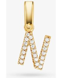Michael Kors - 14k Gold-plated Sterling Silver Pave Alphabet Charm - Lyst