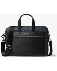 Michael Kors Mk Hudson Logo And Crossgrain Leather Briefcase - Multicolour