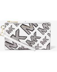 Michael Kors Smartphone-Brieftasche Adele Aus Leder Mit Logoprägung - Weiß