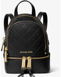Michael Kors Rhea Mini Chain-embossed Leather Backpack