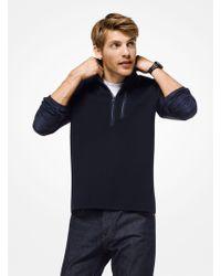 Michael Kors Mixed-media Quarter-zip Pullover - Blue