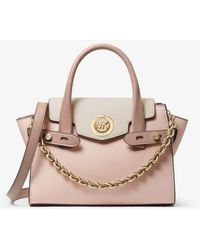 Michael Kors Carmen Extra-small Color-block Saffiano Leather Belted Satchel - Pink