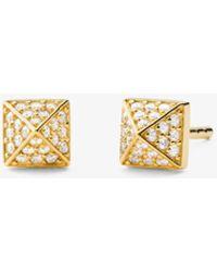 Michael Kors Precious Metal-plated Sterling Silver Pavé Pyramid Stud Earrings - Metallic