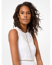 MICHAEL Michael Kors Grommeted Floral Lace Dress - White