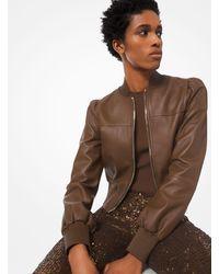 Michael Kors Plongé Leather Cropped Jacket - Brown