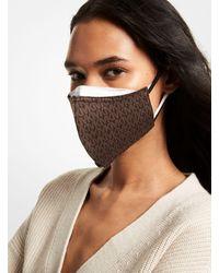 Michael Kors Signature Stretch Cotton Face Mask - Brown