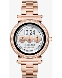 Michael Kors - Smartwatch Sofie tonalità oro rosa con pavé - Lyst 1fbf07d42ed