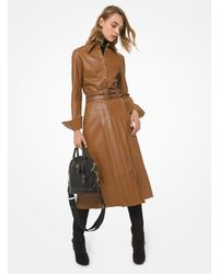 Michael Kors Plongé Leather Pleated Skirt - Brown