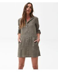 Michael Stars Pilar Shirt Dress W/ Contrast Stitching - Green