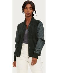 Michael Stars - Suede Bomber With Quilted Sleeves - Lyst