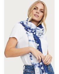 Michael Stars Harley Tie Dye Scarf With Poms - Blue