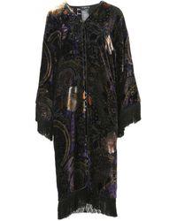 Etro Black Floral-print Velvet-devoré Maxi Poncho With Fringed Edges