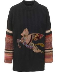 Etro Black Jumper In Wool Blend With Patchwork Pegaso On The Front And Bell Sleeves.