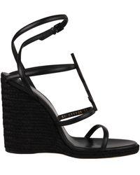 Saint Laurent Cassandra 110 Leather Wedge Sandal - Black