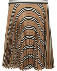Burberry Beige Pleated Skirt In Polyester With Tartan Motif And Striped Waistband - Natural