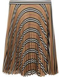 Burberry Gonna plissettata beige in poliestere con motivo tartan e fascia in vita a righe - Neutro